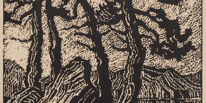 Birger Sandzen, Lake in the Rockies, woodcut (nailcut) (edition of 100), 1921