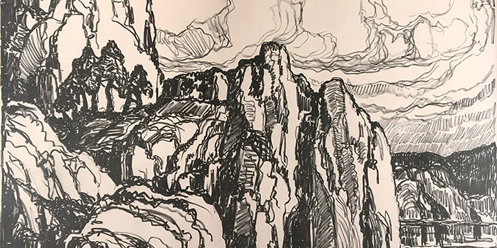 Birger Sandzen, Granite Banks, lithograph on paper (edition of 100), 1923