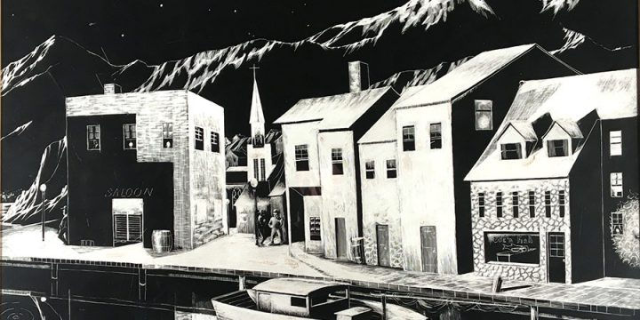 Jerry Jacoby, Untitled (wharf), scratchboard, n.d.