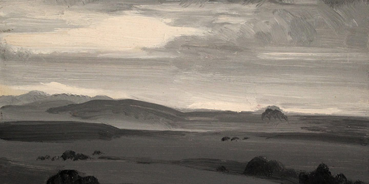 George Barker, Study Panel - Landscape, oil, c.1898-1957?
