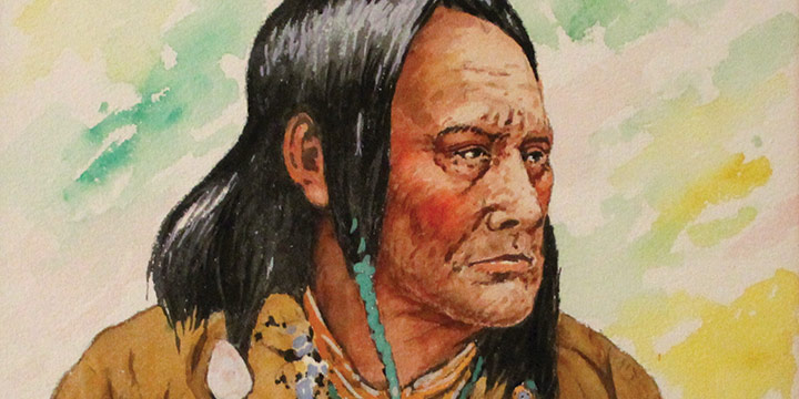 Clarence Ellsworth, A Pueblo Chief, watercolor, 1959