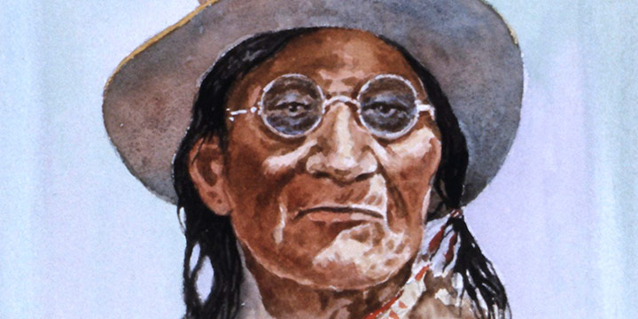 Clarence Ellsworth, Chief John Red Sack, watercolor, 1957