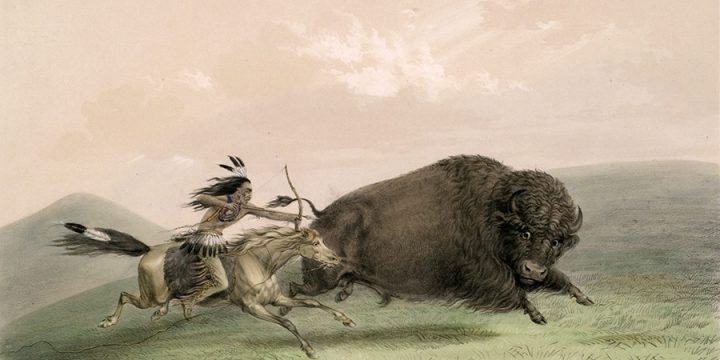 George Catlin, Catlin's North American Indian Portfolio, Buffalo Hunt, Chase - No. 5, lithograph, c. 1844
