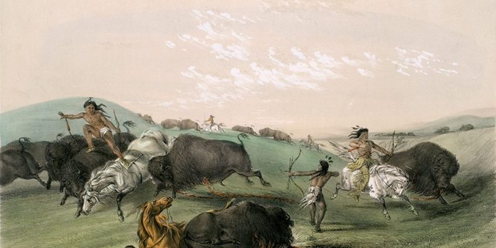 George Catlin, Catlin's North American Indian Portfolio, Buffalo Hunt, Chase - No. 7, lithograph, c. 1844