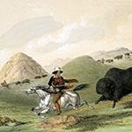 George Catlin, Catlin's North American Indian Portfolio, Buffalo Hunt, Chasing Back, lithograph, c. 1844