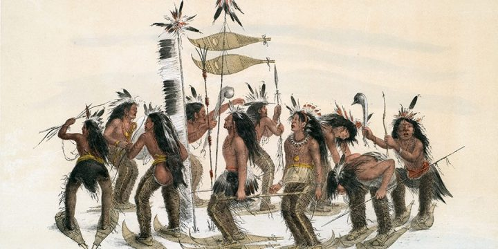 George Catlin, Catlin's North American Indian Portfolio, The Snow-Shoe Dance, lithograph, c. 1844
