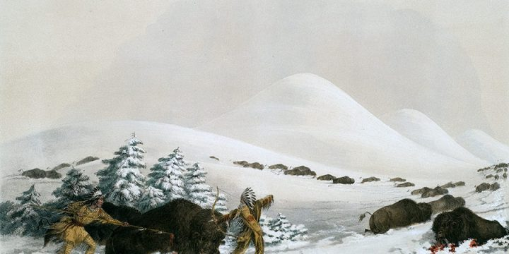 George Catlin, Catlin's North American Indian Portfolio, Buffalo Hunt, On Snow Shoes, lithograph, c. 1844