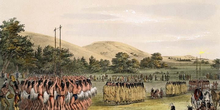 George Catlin, Catlin's North American Indian Portfolio, Ball-Play Dance, lithograph, c. 1844