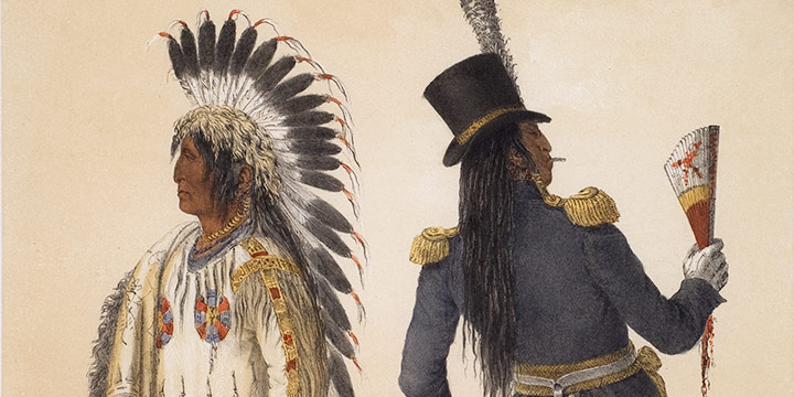 George Catlin, Catlin's North American Indian Portfolio, Wi-Jun-Jon (An Assinneboin Chief, going to Washington and returning to his home, lithograph, c. 1844)