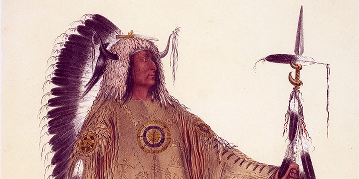 George Catlin, Catlin's North American Indian Portfolio, Mah-To-Toh-Pa (The Mandan Chief), lithograph, c. 1844