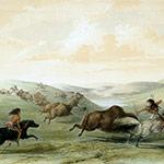 George Catlin, Catlin's North American Indian Portfolio, Buffaloe Hunting, lithograph, c. 1844