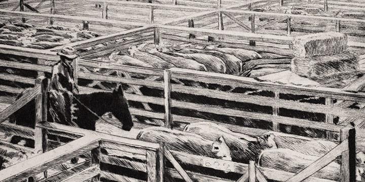 Lyman Byxbe, Stockyards, etching, n.d.
