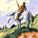 Thomas Hart Benton, Indian and White Horse, gouache, ink, 1945