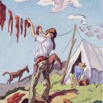 Thomas Hart Benton, Hanging Buffalo Meat to Dry, gouache, ink, 1945