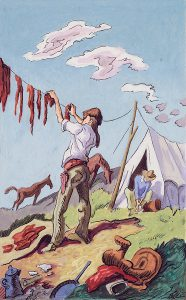 Thomas Hart Benton, Hanging Buffalo Meat to Dry, gouache, ink, 1945