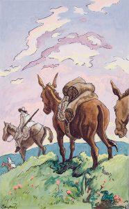 Thomas Hart Benton, Pack Mule, gouache, ink, 1945