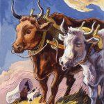 Thomas Hart Benton, The Oxen, gouache, ink, 1945