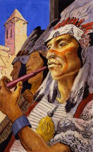 Thomas Hart Benton, The Chief and His Pipe, gouache, ink, 1945