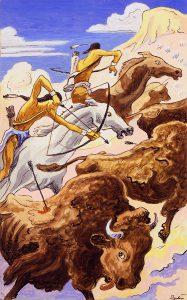 Thomas Hart Benton, Indian Buffalo Hunt, gouache, ink, 1945