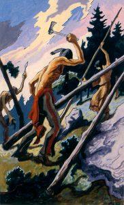Thomas Hart Benton, Preparing Poles, gouache, ink, 1945