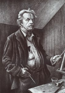 Thomas Hart Benton, Self-Portrait, lithograph, 1970