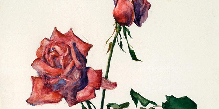 Eulabee Dix, Still Life of Tow Red Roses, watercolor on paper, c.1950s