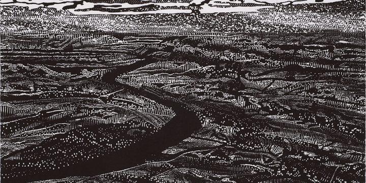 Carol Meis Ellington, Riverscape, woodblock print, c. 2002