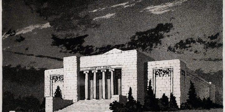 Lyman Byxbe, Joslyn Memorial, aquatint, 1935