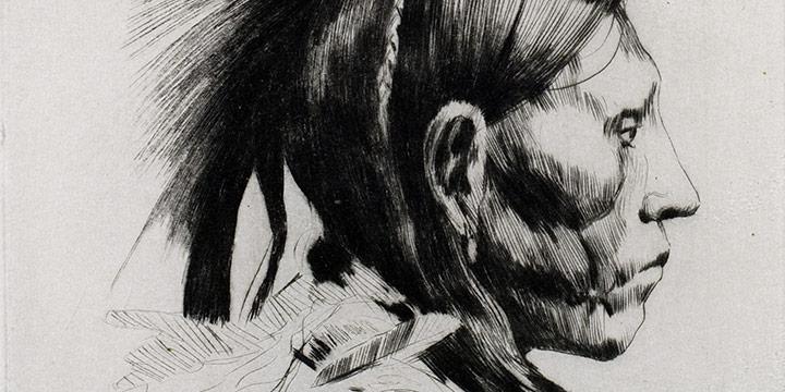Lyman Byxbe, Big Porcupine (Arapaho), drypoint, c. 1929