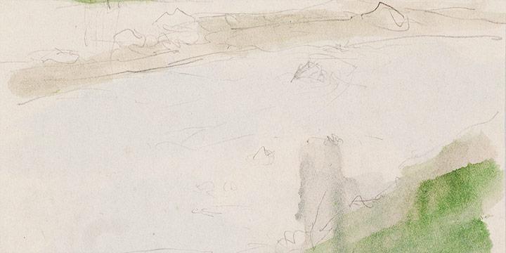 Enrique Martinez Celaya, The Nebraska Suite, No. 4, graphite, watercolor on paper