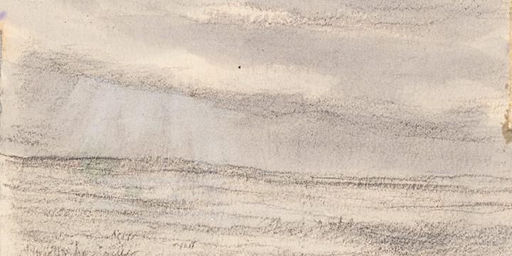 Enrique Martinez Celaya, The Nebraska Suite, No. 6, graphite, watercolor on paper, 2010