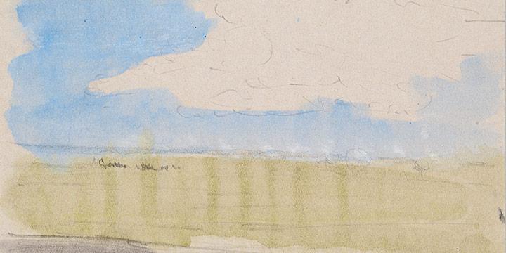 Enrique Martinez Celaya, The Nebraska Suite, No. 7, graphite, watercolor on paper, 2010