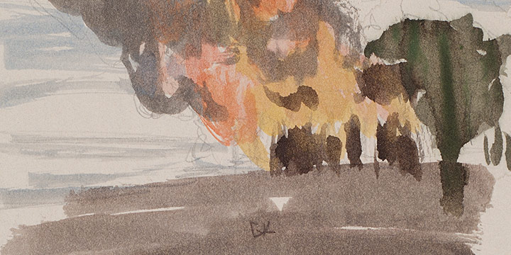 Enrique Martinez Celaya, The Nebraska Suite, No. 8, watercolor on paper, 2010