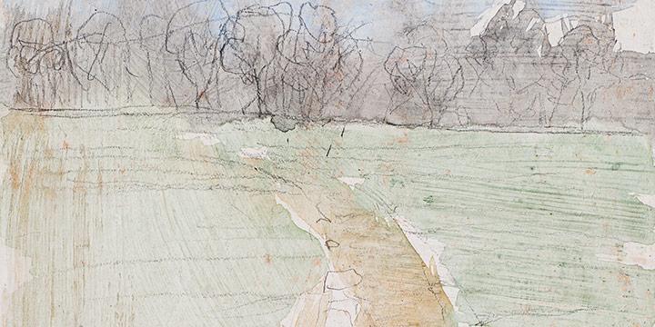 Enrique Martinez Celaya, The Nebraska Suite, No. 12, graphite, watercolor on gessoed paper, 2010