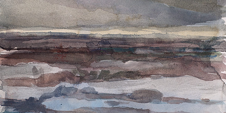Enrique Martinez Celaya, The Nebraska Suite, No. 18, watercolor on paper, 2010