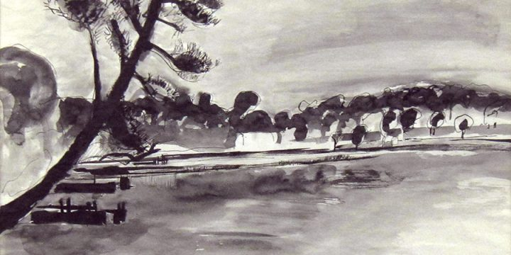 William C. (Bill) Farmer, Untitled (lake scene), ink, n.d