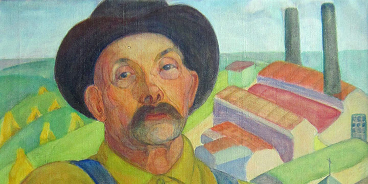 Alice Righter Edmiston, Untitled (man in overalls), oil on canvas, n.d.