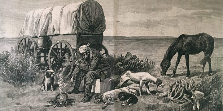R.F. Zogbaum, The Old Bone Man of the Plains, wood engraving, published in Harper's Weekly January 15, 1887
