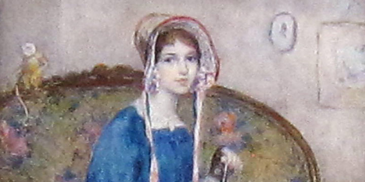 Eulabee Dix, Joan in an Old Gown, watercolor miniature on ivory, 1930
