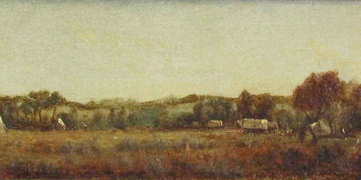 Sanford Gifford, A Sketch at the Camp on the La Bonté,  Wyoming, Territory, oil on canvas, 1870