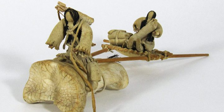 Phillip Broken Leg, Lakota (Sioux) Child's Toy (travois with bone horse, three dolls), mixed-bone, hide, thread, wood, before 1950