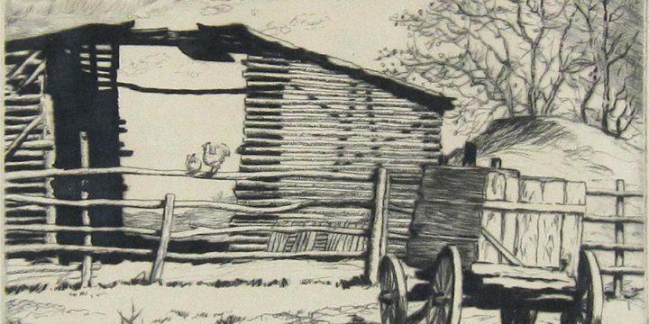 Lyman Byxbe, Down on the Farm, etching, n.d.