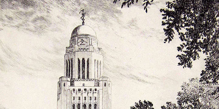 Lyman Byxbe, State House-Lincoln (Nebraska capitol building), etching, n.d.