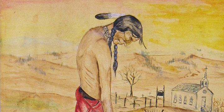 Daniel Long Soldier, Broken Treaties, watercolor, 1974