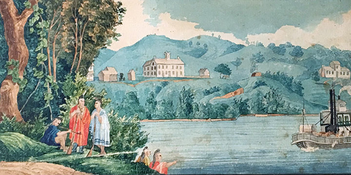 Stanislas Schimonsky, The Omaha and Ottoe Mission at Bellevue. From the East, watercolor mounted on heavy card, c. 1855