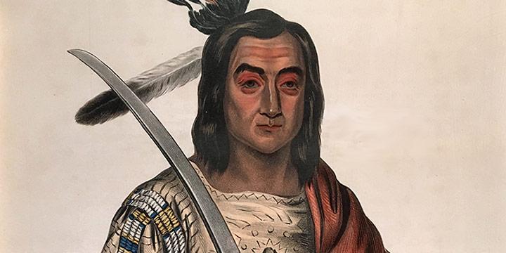 George Cooke, Mon-Ka-ush-ka, a Sioux Chief Trembling Earth, handcolored lithograph, 1837