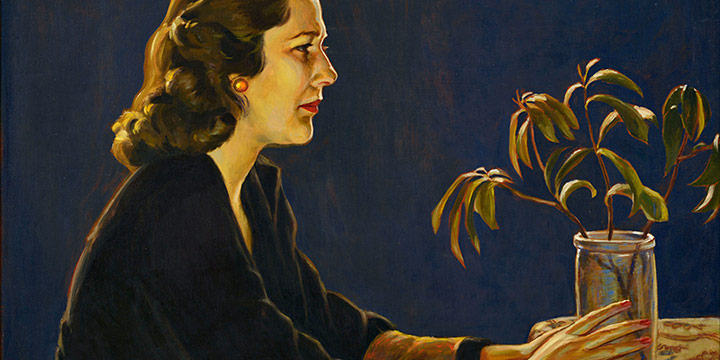 Paul Swan, Olivia Swan (with jar of cuttings), oil on canvas, 1942