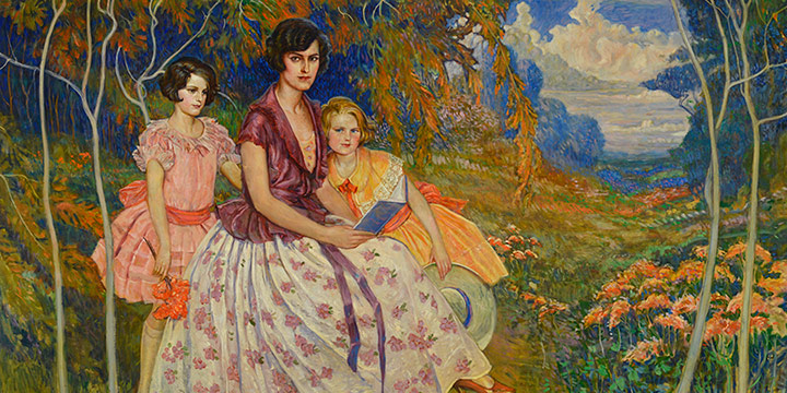 Paul Swan, The Three Graces: Beatrice Wielich and daughters, Carmen and Dorothy, oil on canvas, 1927