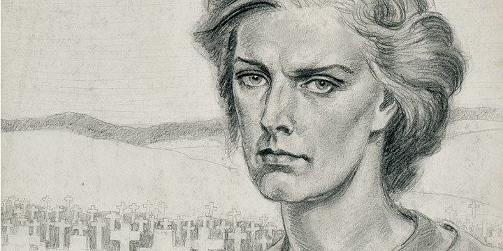 Paul Swan, Hilly Swan (cemetery), graphite, c. 1940