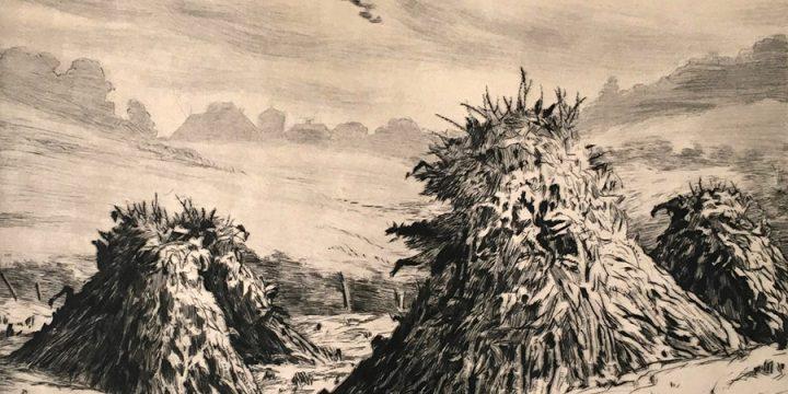Lyman Byxbe, Shock Corn, drypoint, c. 1937